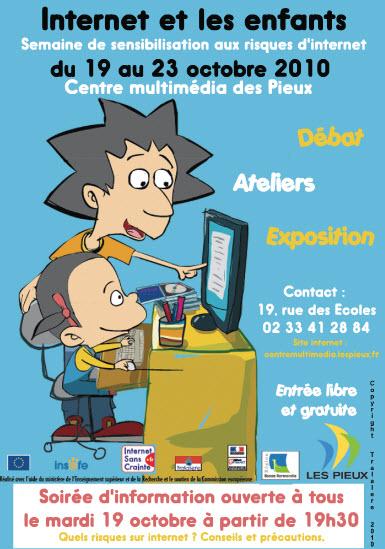Affiche de la 3ème édition d'Internet et les enfants du centre multimédia des Pieux