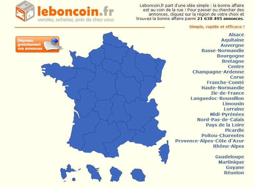 Capture d'écran de la page d'accueil du site leboncoin.fr
