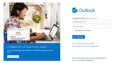 Page d'accueil d'outlook.com