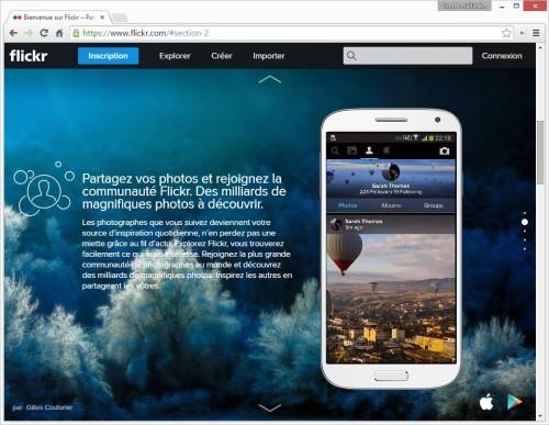 Capture d'écran de la page d'accueil du site flickr.com