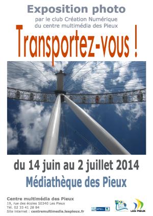 """Affiche de l'expo 2014 du club création numérique """"Transportez-vous !"""""""