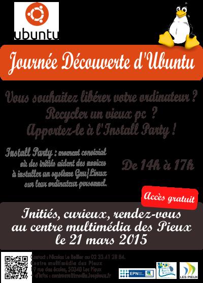 Affiche pour l'install party du 21 mars 2015 au centre multimédia des Pieux.