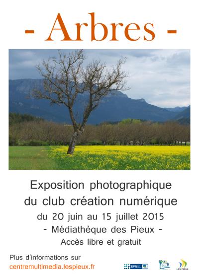 Affiche de l'exposition photographique Arbres du club création numérique